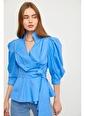 Setre Pembe Bağcık Detaylı Poplin Bluz Mavi